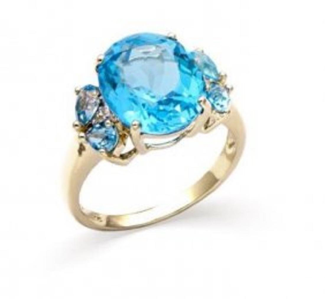 6.94 CT Certified Swiss Topaz & Diamond 14K Ring $6,374