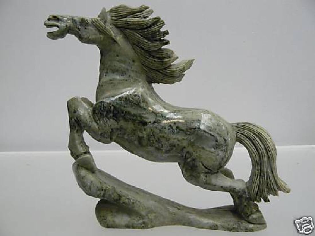 HAND CARVED NATURAL JADE RUNNING HORSE