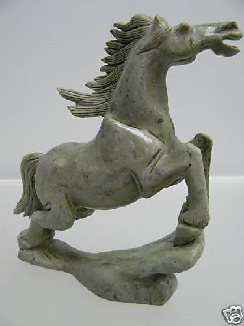 HAND CARVED NATURAL JADE RUNNING HORSE - 3