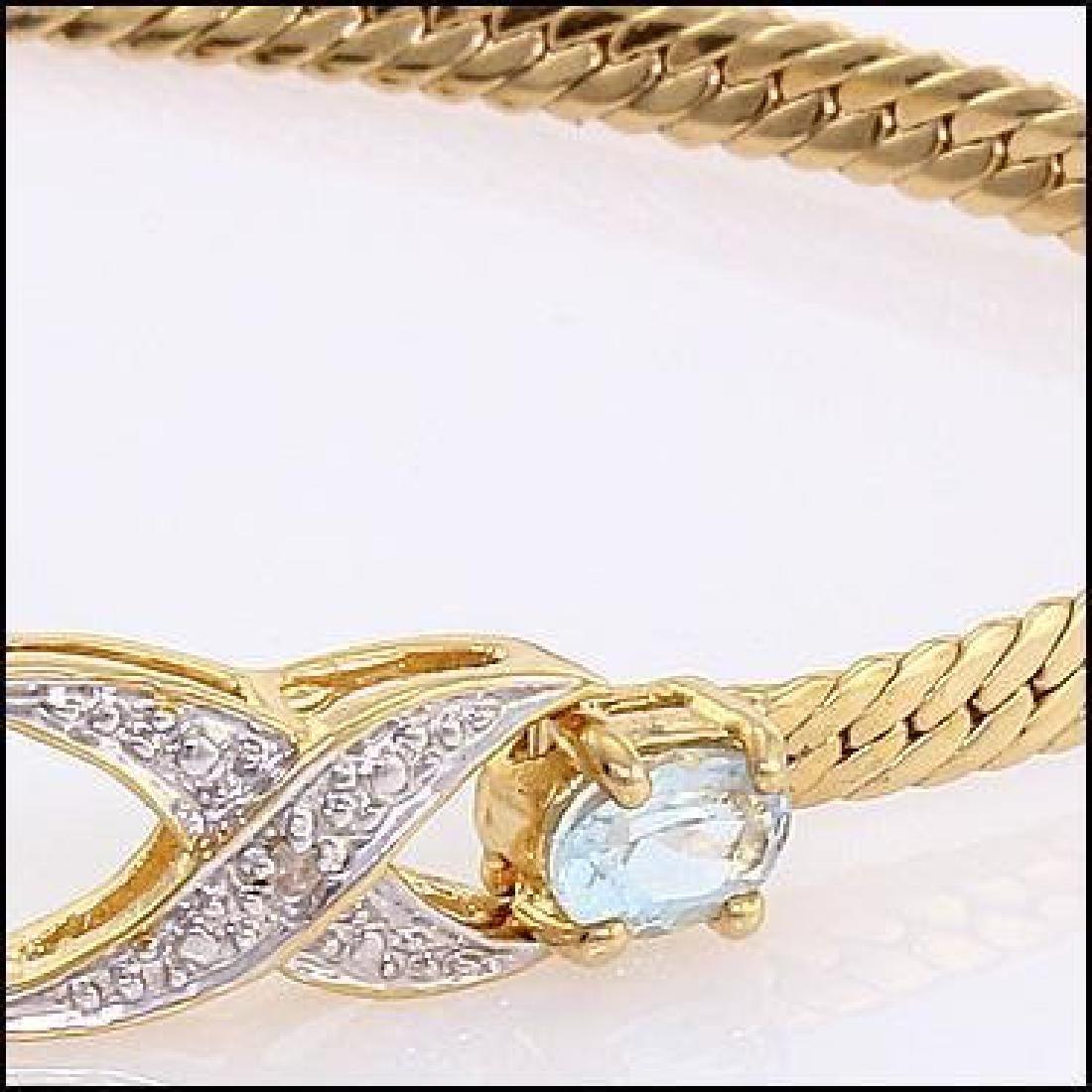 3.89 CT Blue Topaz & Diamond Designer Bracelet $965 - 2