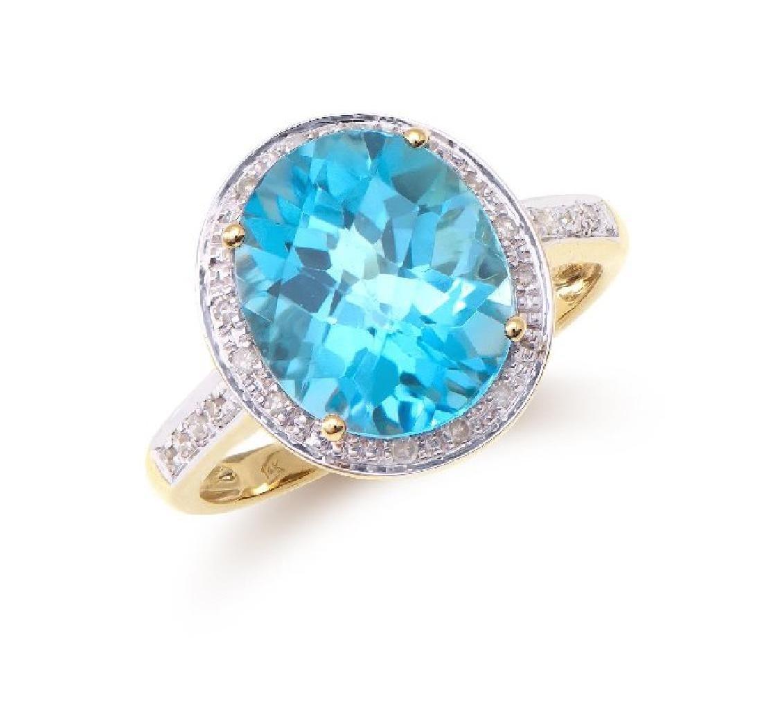 5.29 Cts Certified Topaz & Diamond Designer Ring $4,451