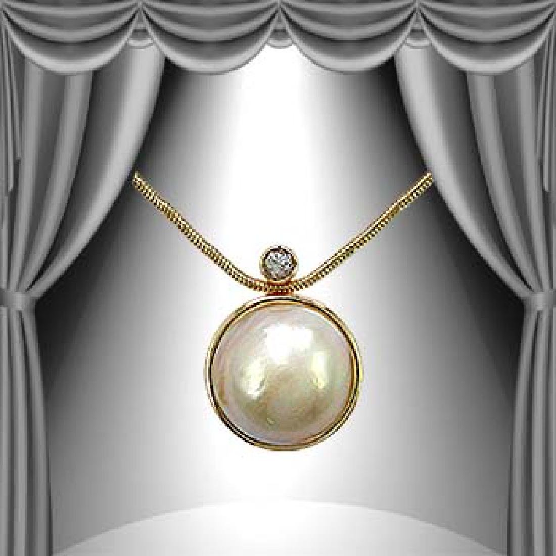Genuine 10mm Pearl White Sapphire Necklace