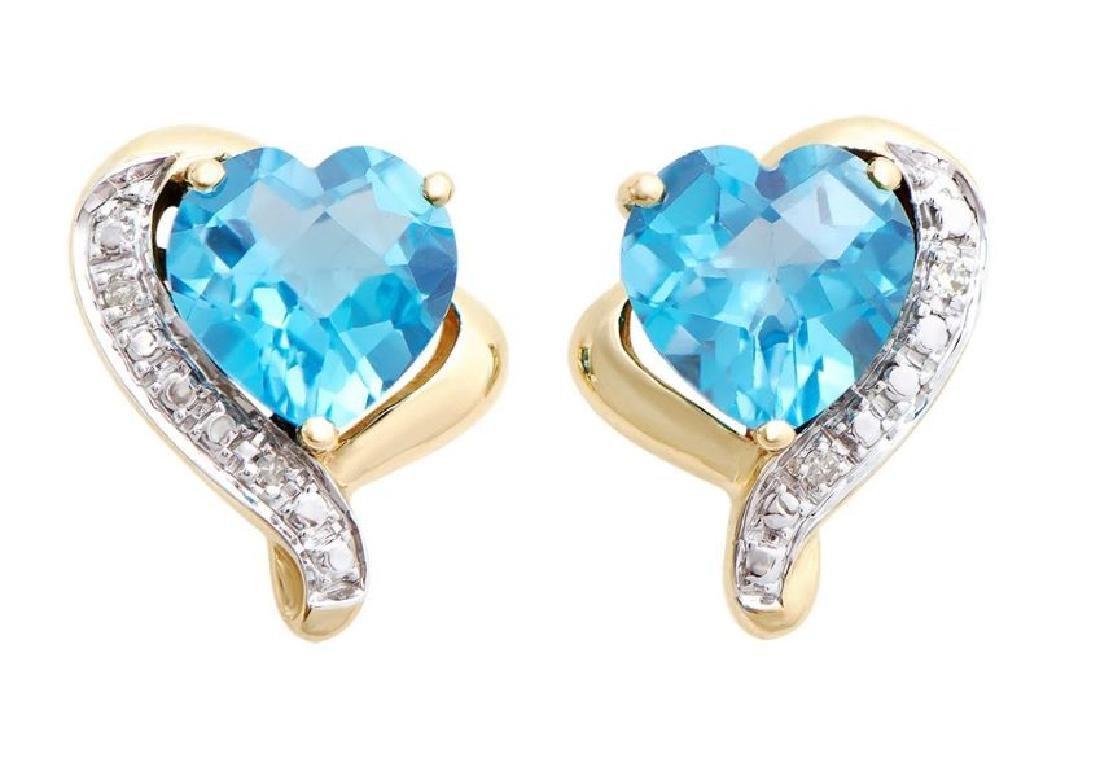2.46 Ct Certified Swiss Topaz & Diamond Earrings $4,069