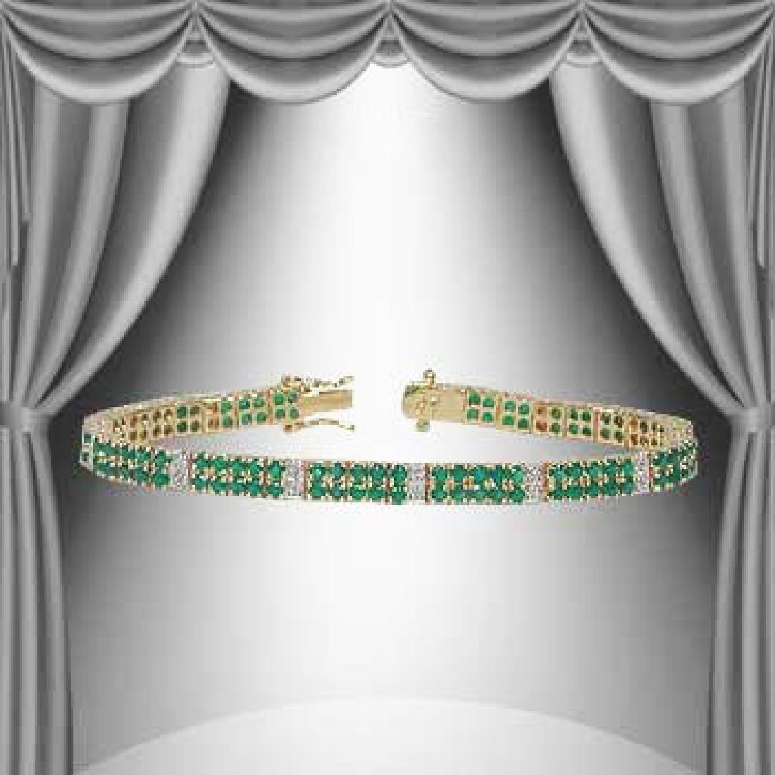 17Ct Green Agate & Diamond 2 -Row Bracelet