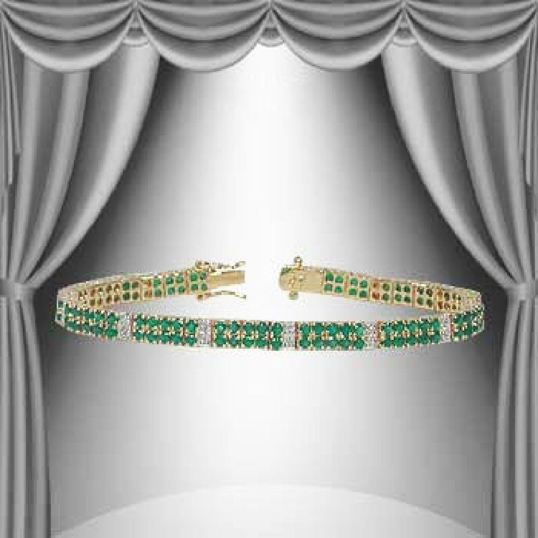 17Ct Green Agate & Diamond 2 -Row Bracelet