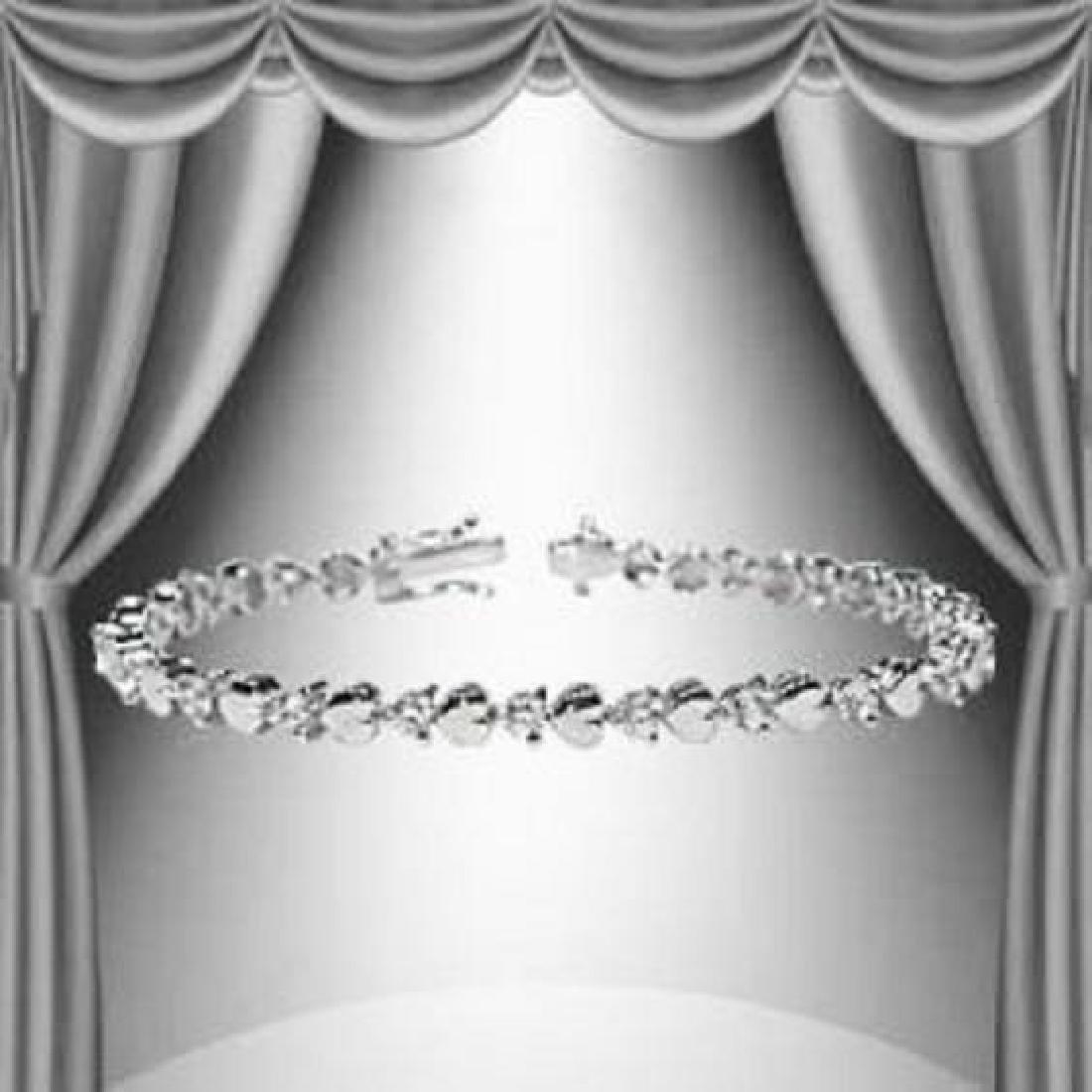 1.23 CTW Diamond and Hearts Silver Tennis Bracelet