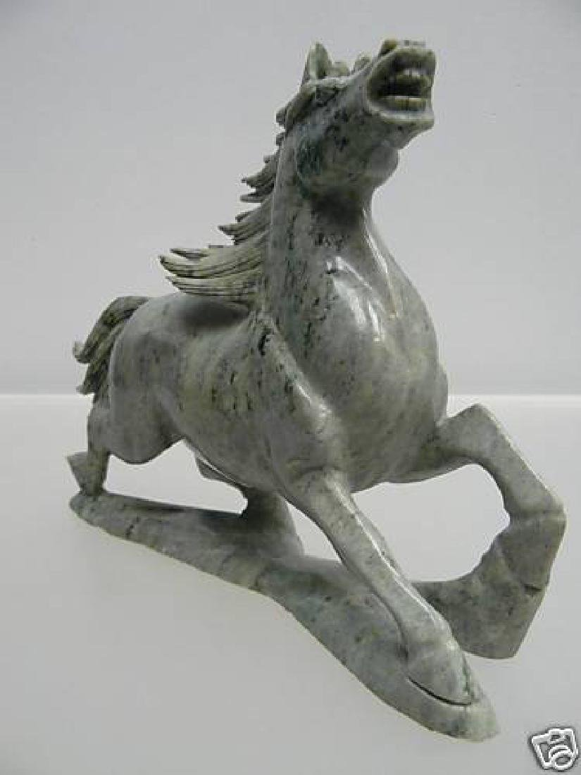 Hand Carved Solid Jade Running Horse - 2