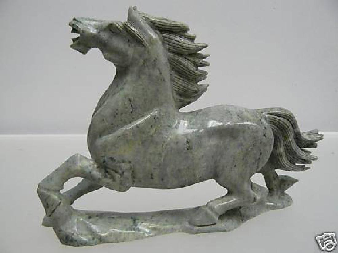 Hand Carved Solid Jade Running Horse - 3