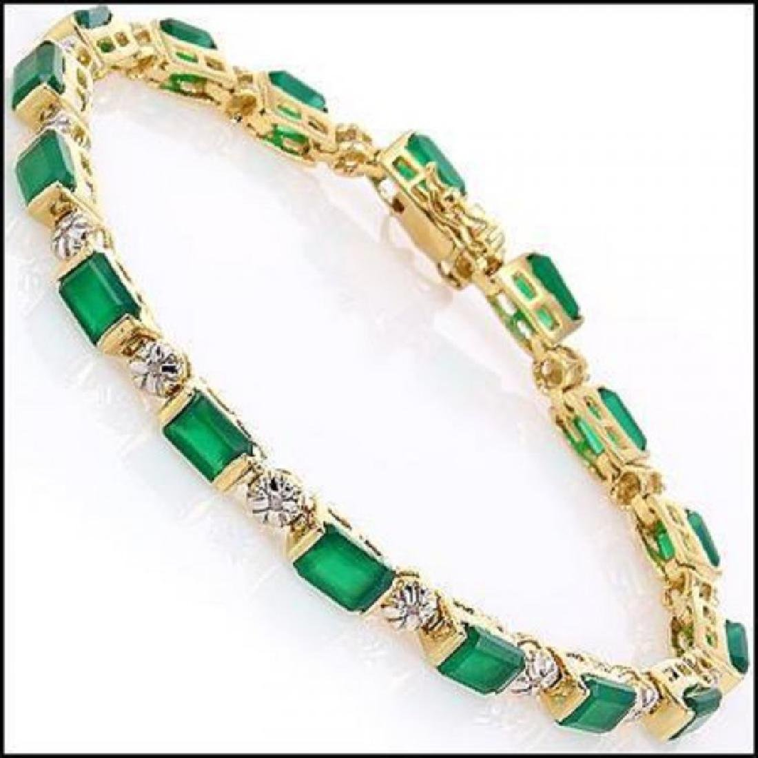 9.79 CT Green Agate & Diamond Designer Bracelet $1405