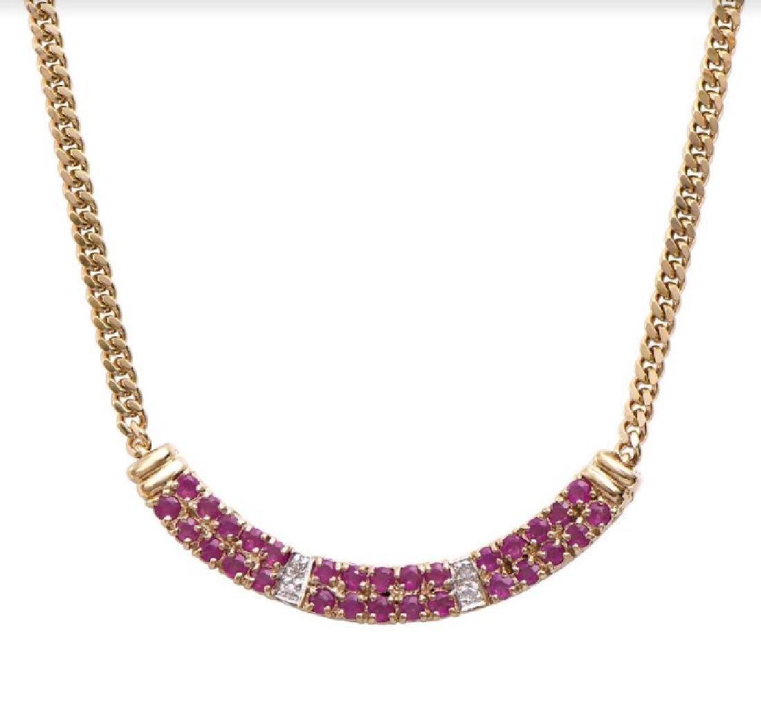 14.89 CT Ruby & Diamond Designer Necklace MSRP $1,465