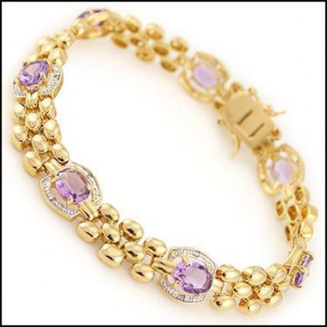12.37 CT Amethyst & Diamond Designer Bracelet