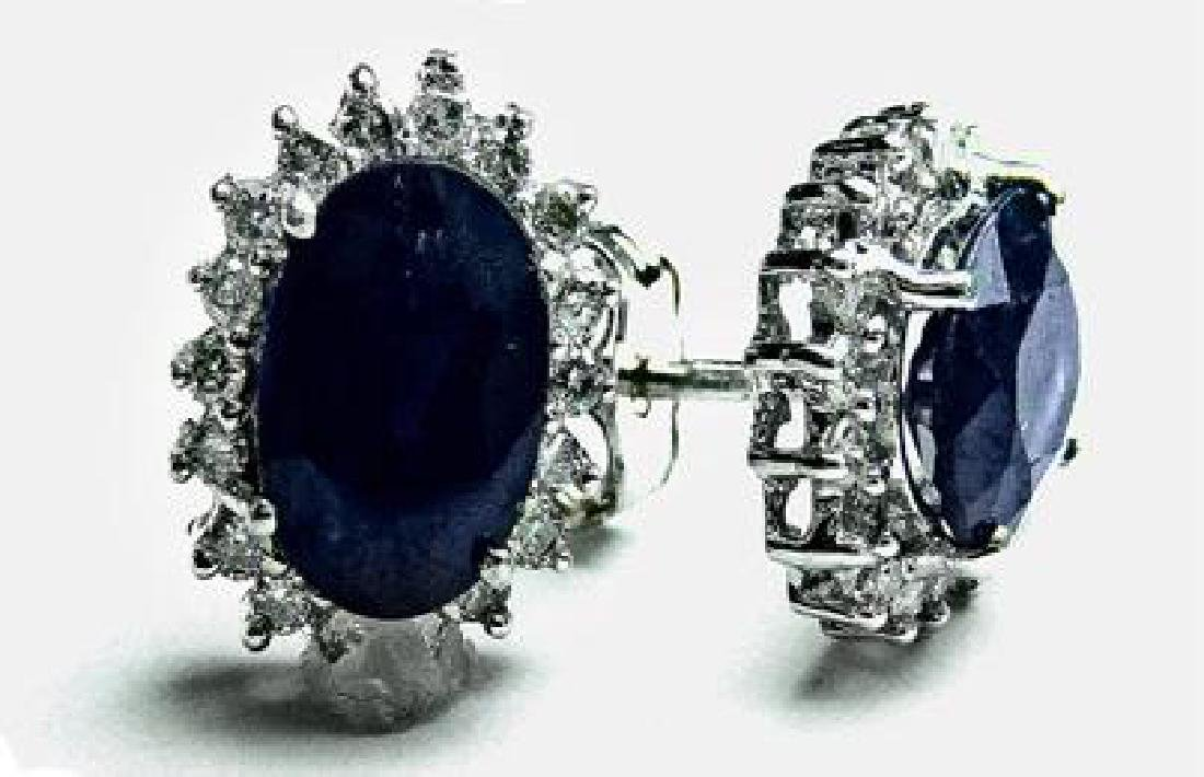 2.16 CT Blue Sapphire Diamond Earrings $5,750