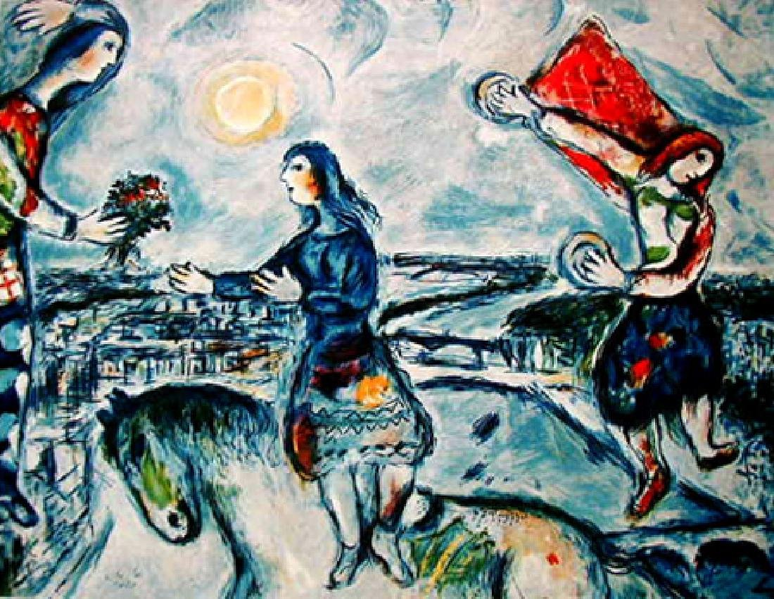 Marc Chagall LOVERS OVER PARIS Ltd Ed. Lithograph