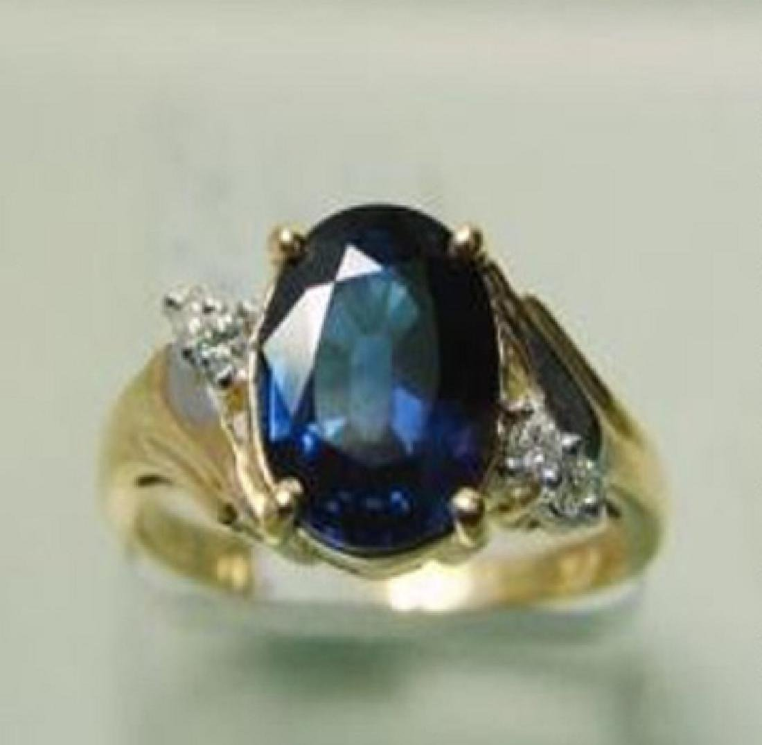 2.15 CT Natural Sapphire Diamond Ring Appraised $3,800