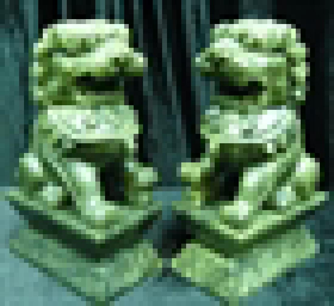 "Handcrafted Pair of 6"" green jade foodogs - 2"