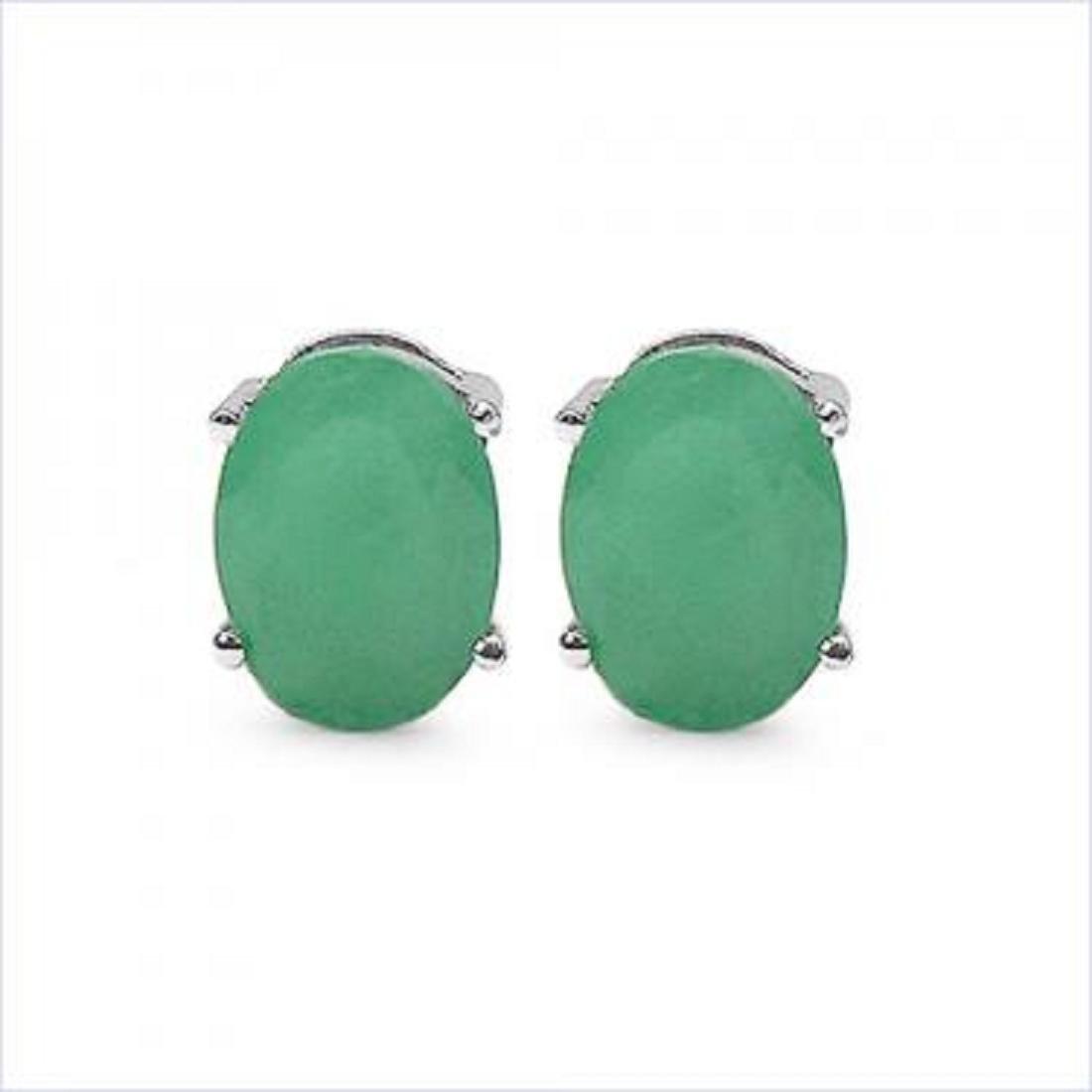 3 CT Green Agate Stud Earrings
