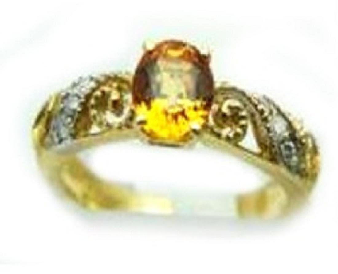 1.00 CT Yellow Topaz Diamond Ring Appraised $3,200