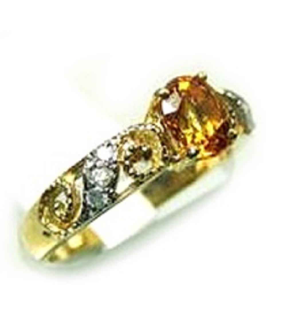 1.00 CT Yellow Topaz Diamond Ring Appraised $3,200 - 2