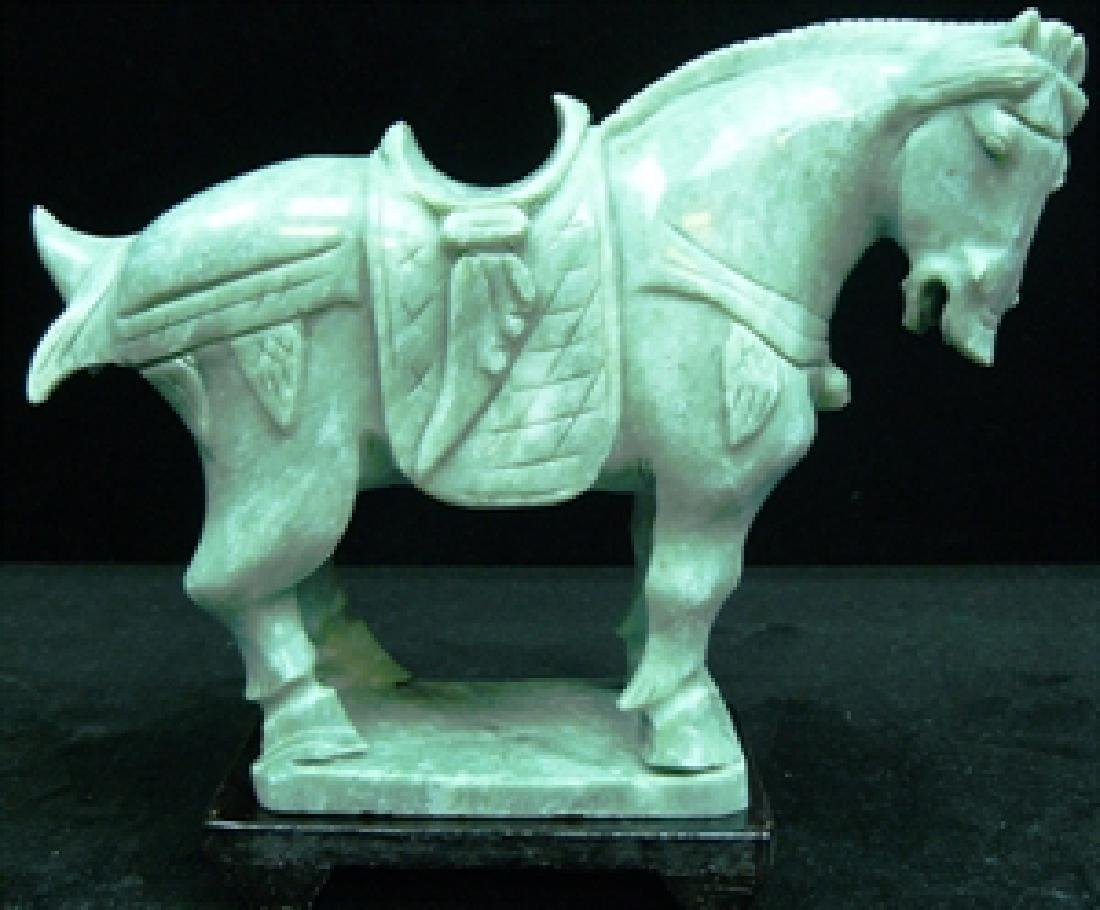REAL JADE SADDLED TANG HORSE