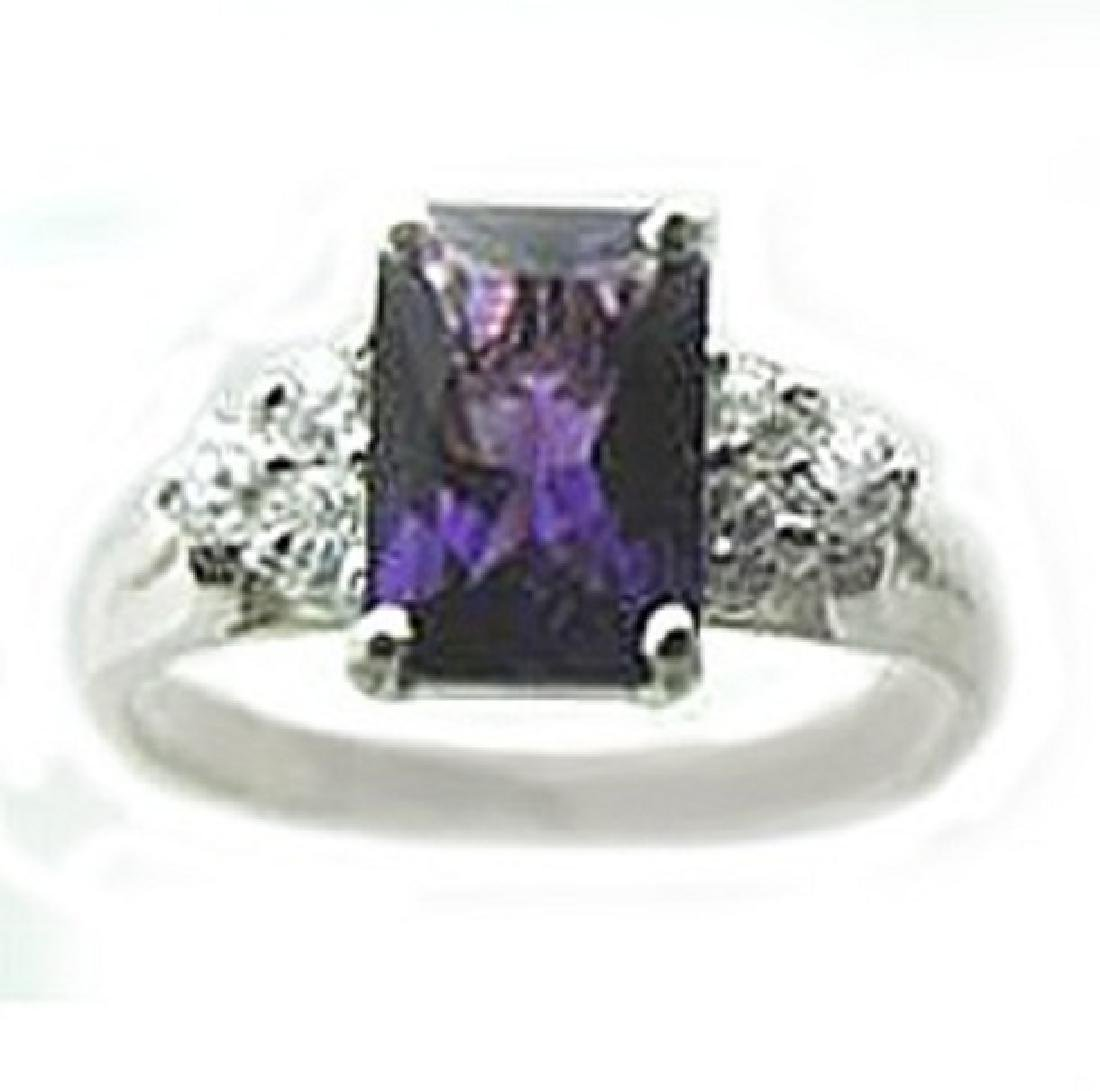2.10 CT Amethyst Diamond Ring Appraised $3,200