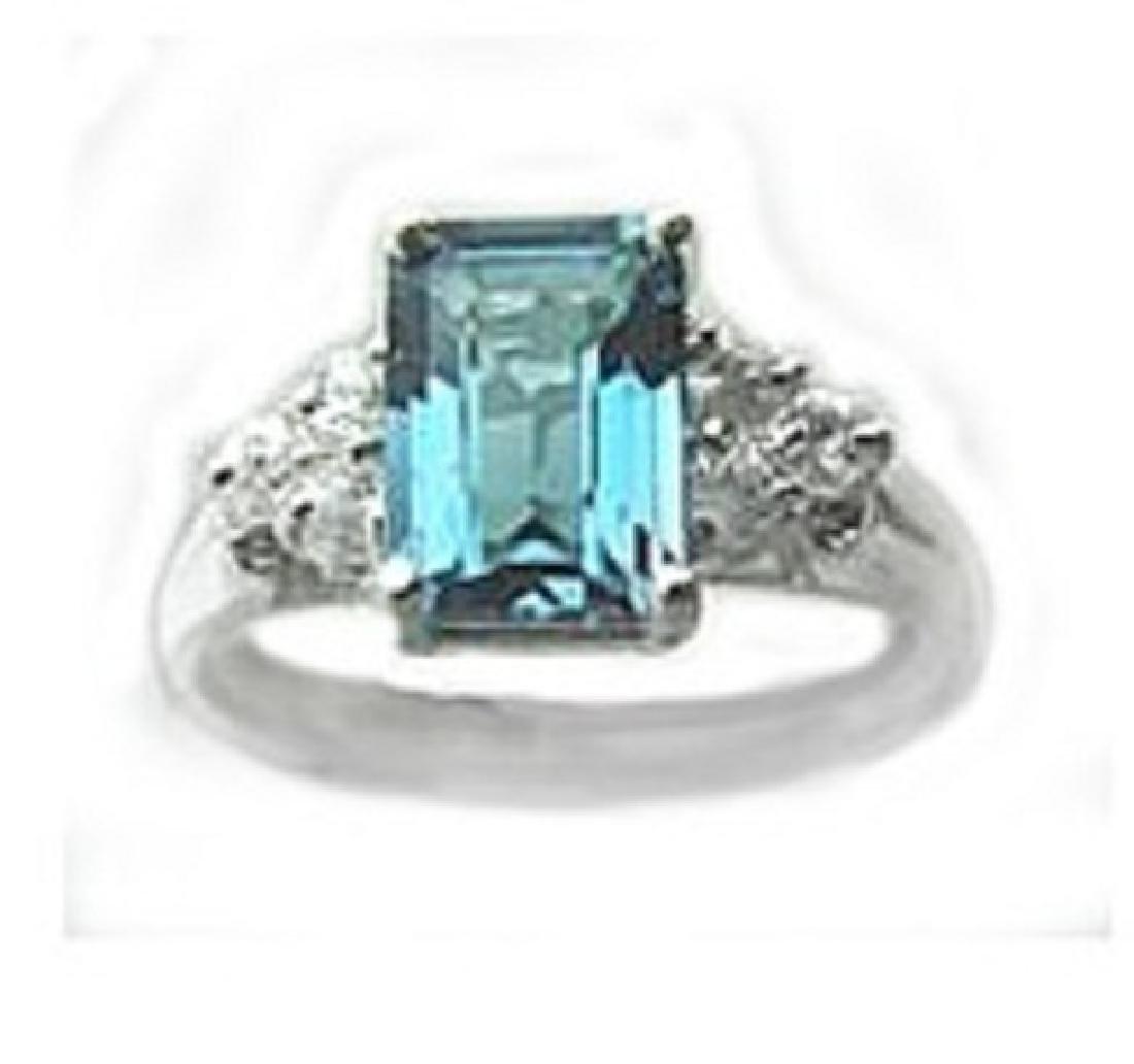 2.10 CT Blue Topaz Diamond Ring Appraised $3,200