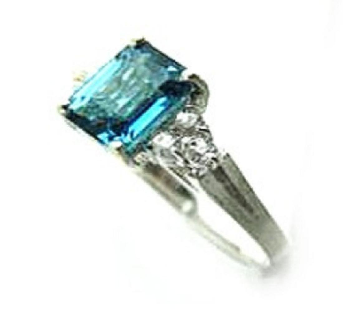 2.10 CT Blue Topaz Diamond Ring Appraised $3,200 - 2