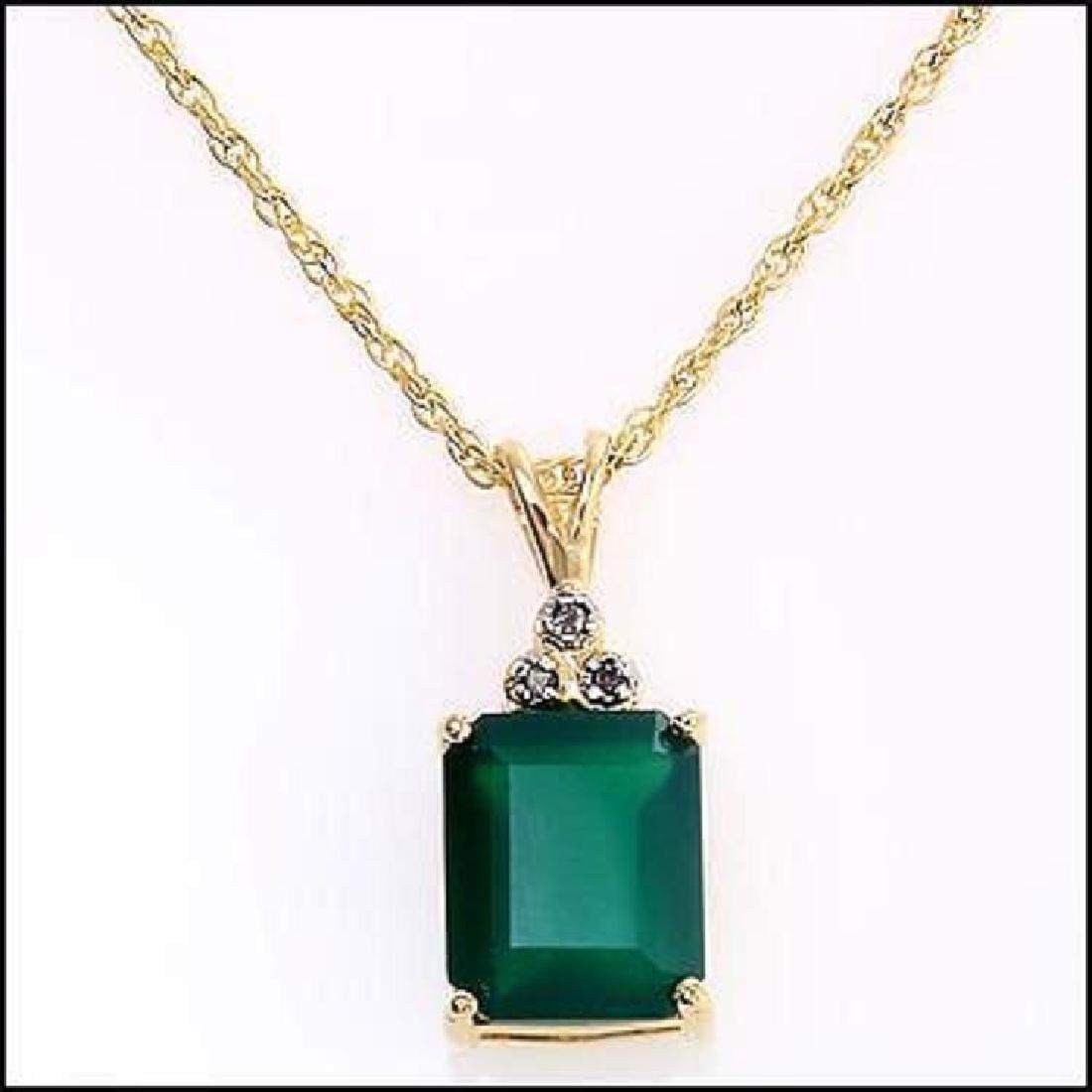 Genuine 4.7 CT Green Agate Diamond Pendant