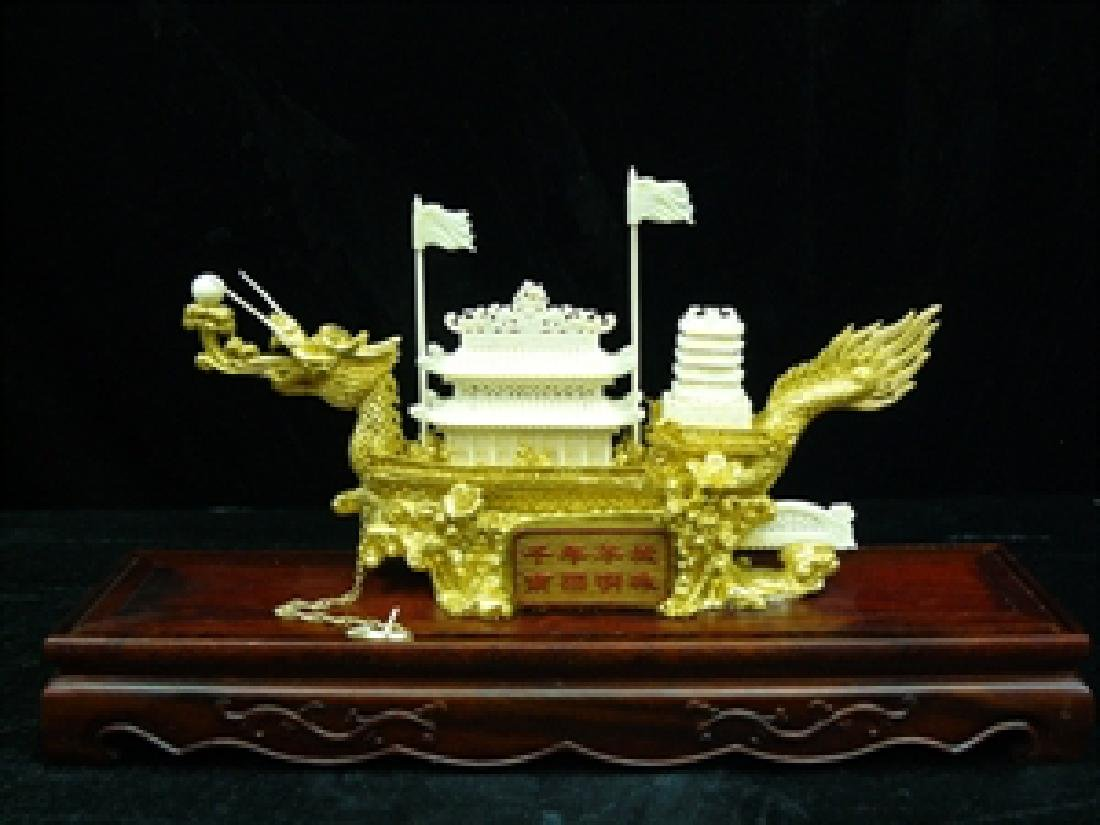 Bone golden dragon boat with case