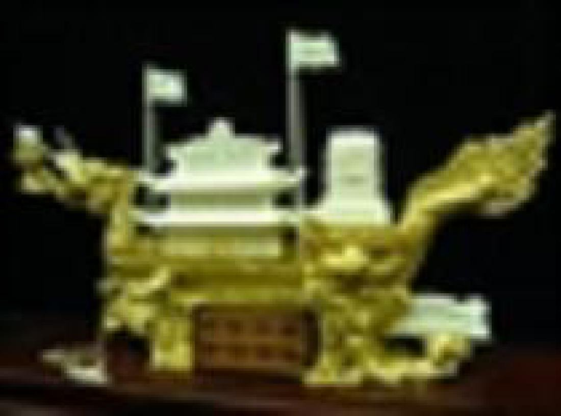 Bone golden dragon boat with case - 2