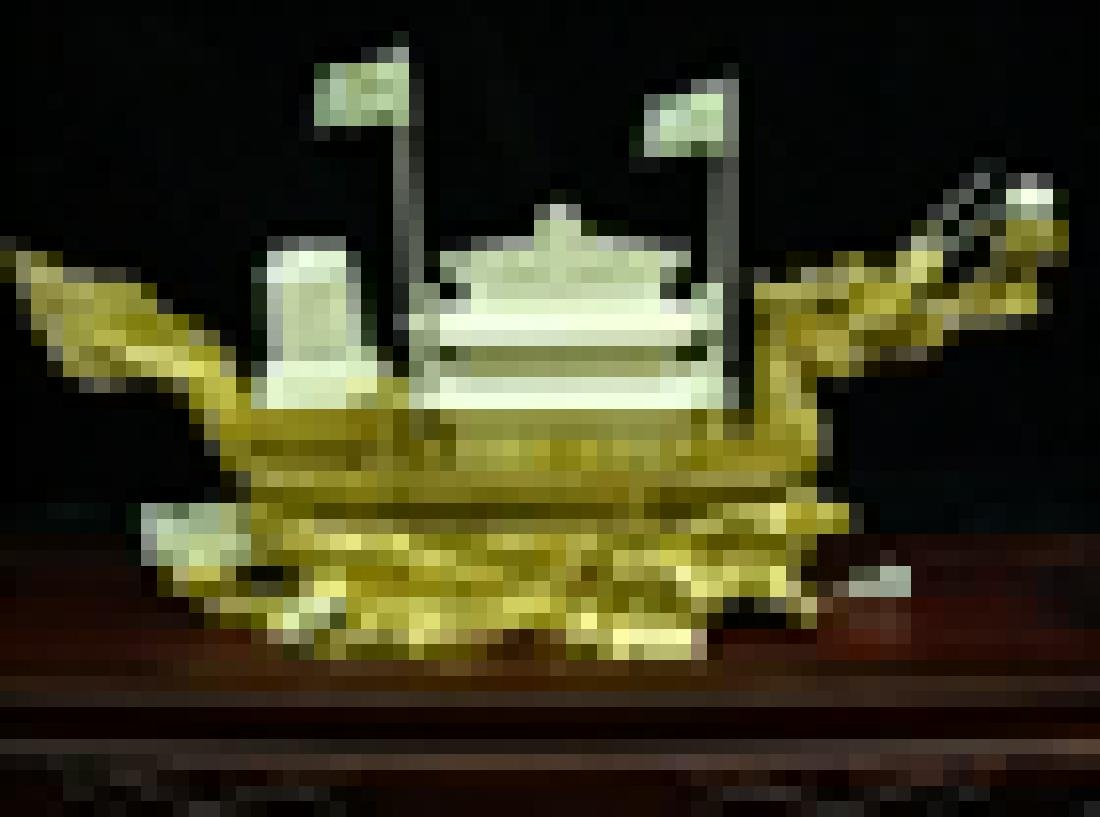 Bone golden dragon boat with case - 5