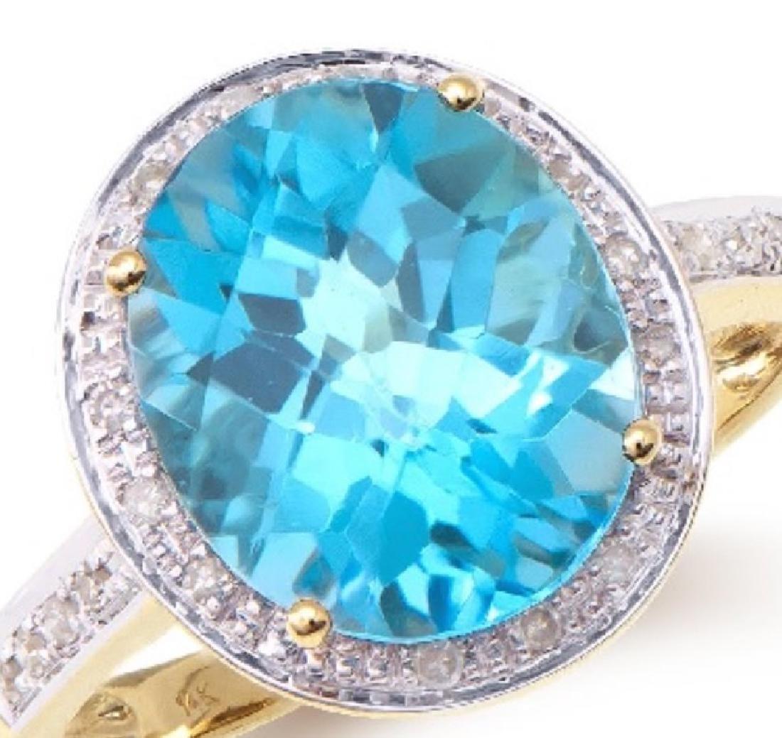 5.29 Cts Certified Topaz & Diamond Designer Ring $4,451 - 2