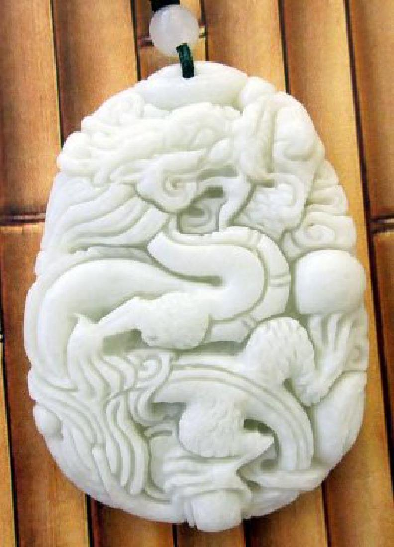 Chinese Jade Fortune Dragon Amulet Pendant - 2