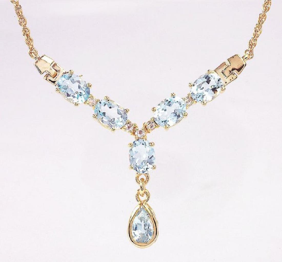 7.14 CT Topaz & Diamond Designer Necklace