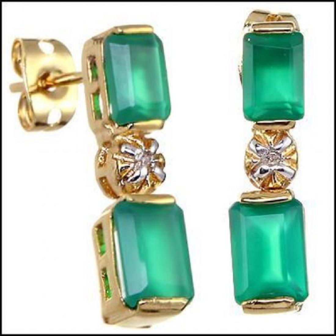 3.18 CTW Green Agate & Diamond Designer Earrings
