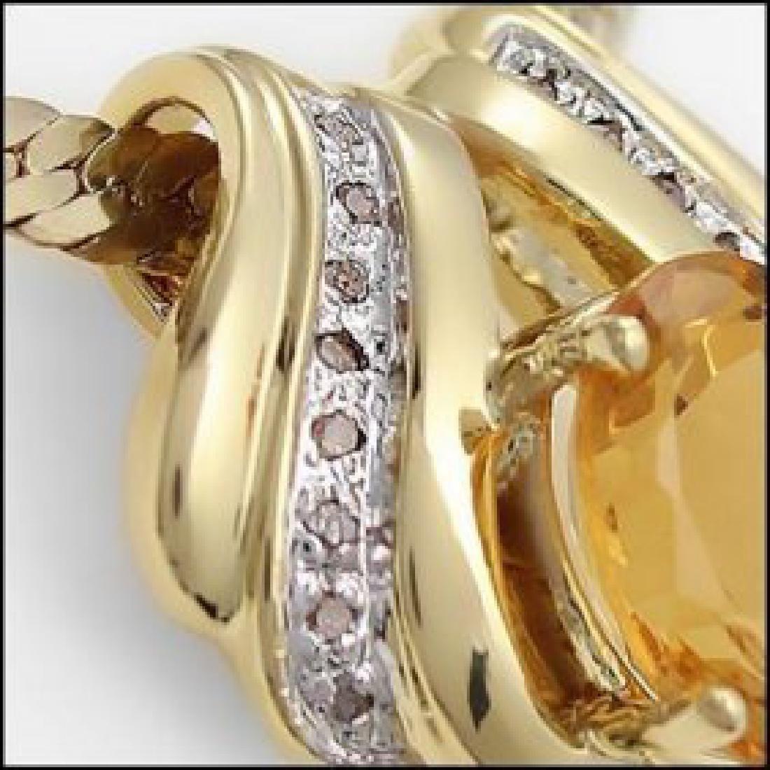 7.49 CT Citrine & Diamond Necklace - 2