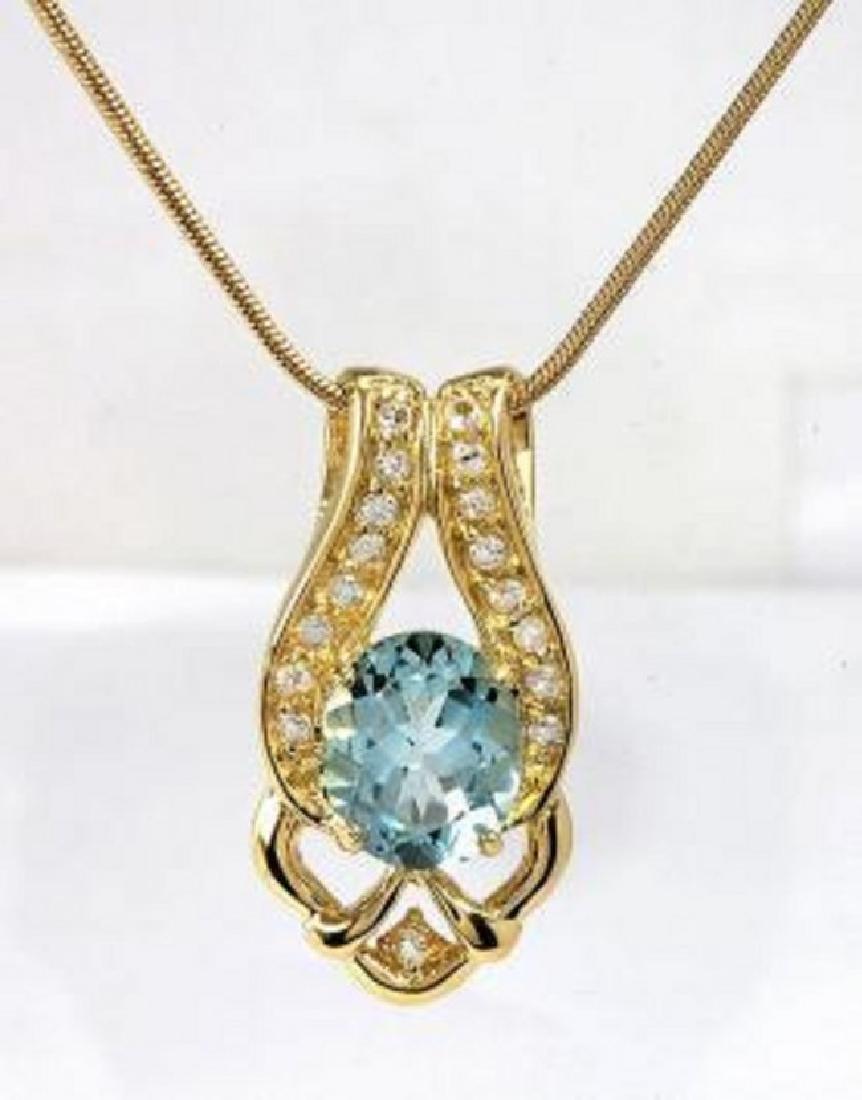 6.69 CT Blue Topaz & Diamond Designer Necklace $880