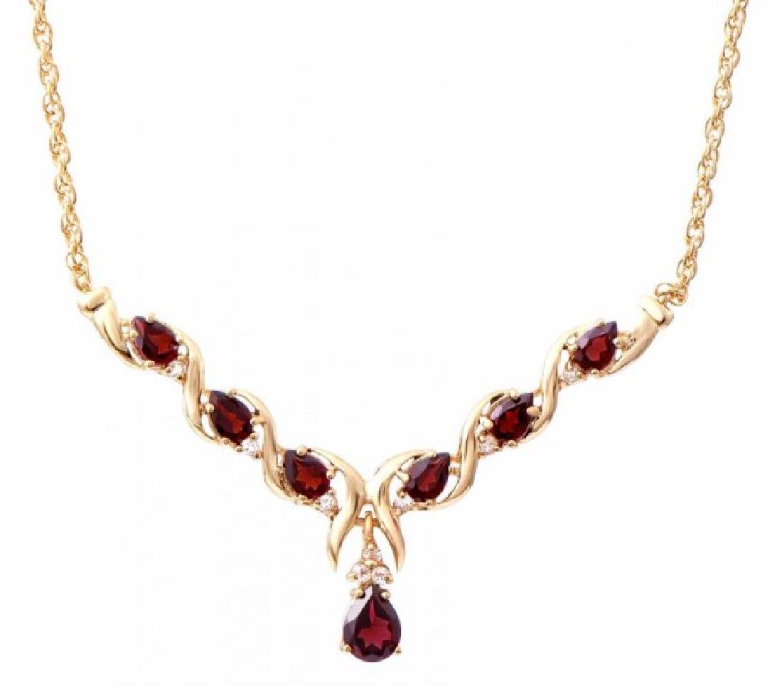 7.69 CT Garnet & Diamond Fine Necklace $1445