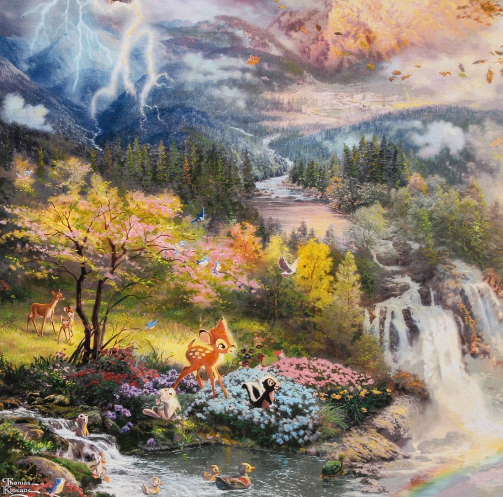 Kinkade Fine Art Print Disney Bambi's First Year