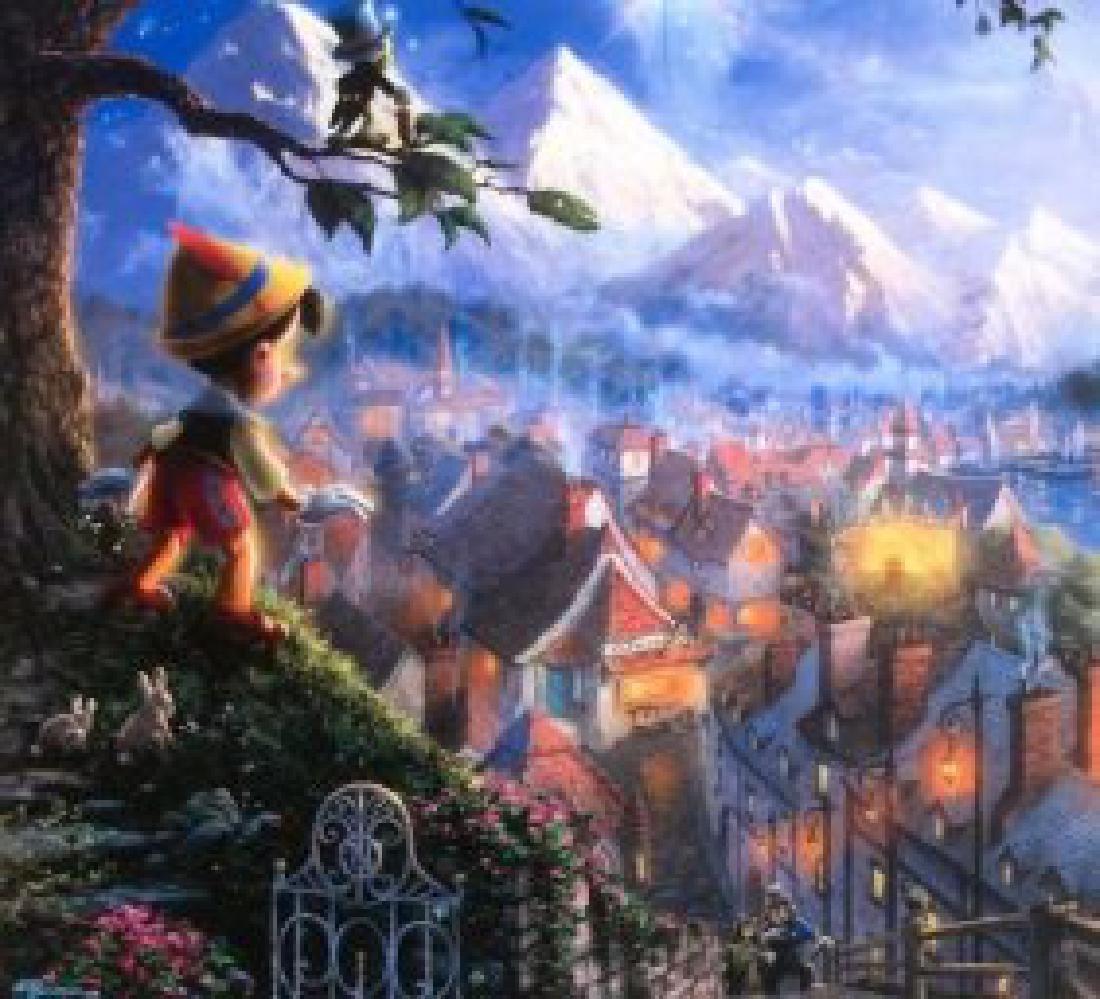 Kinkade Lithograph Disney - Pinocchio