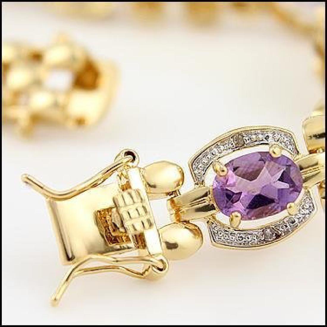 12.37 CT Amethyst & Diamond Designer Bracelet - 3