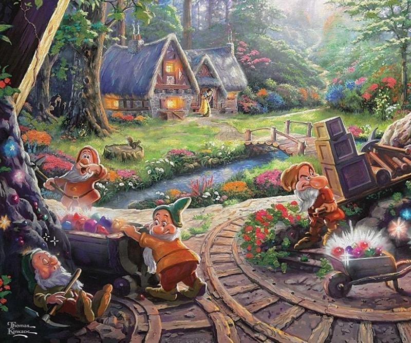 Kinkade Disney Art Print Snow White & the Seven Dwarfs
