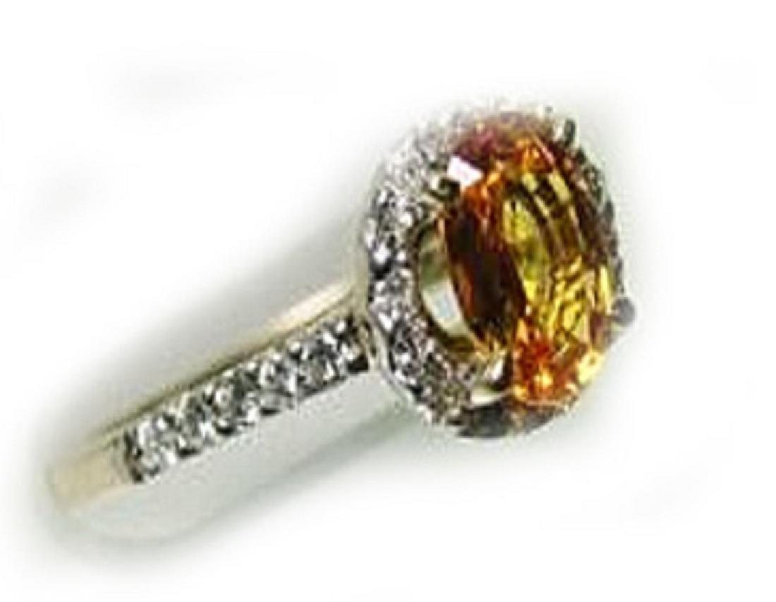 2.10 CT Yellow Sapphire Diamond Ring Appraised $4,300 - 2