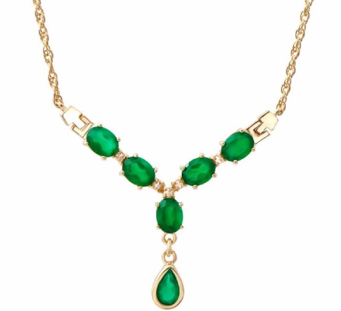 7.19 CT Green Agate & Diamond Necklace $1465