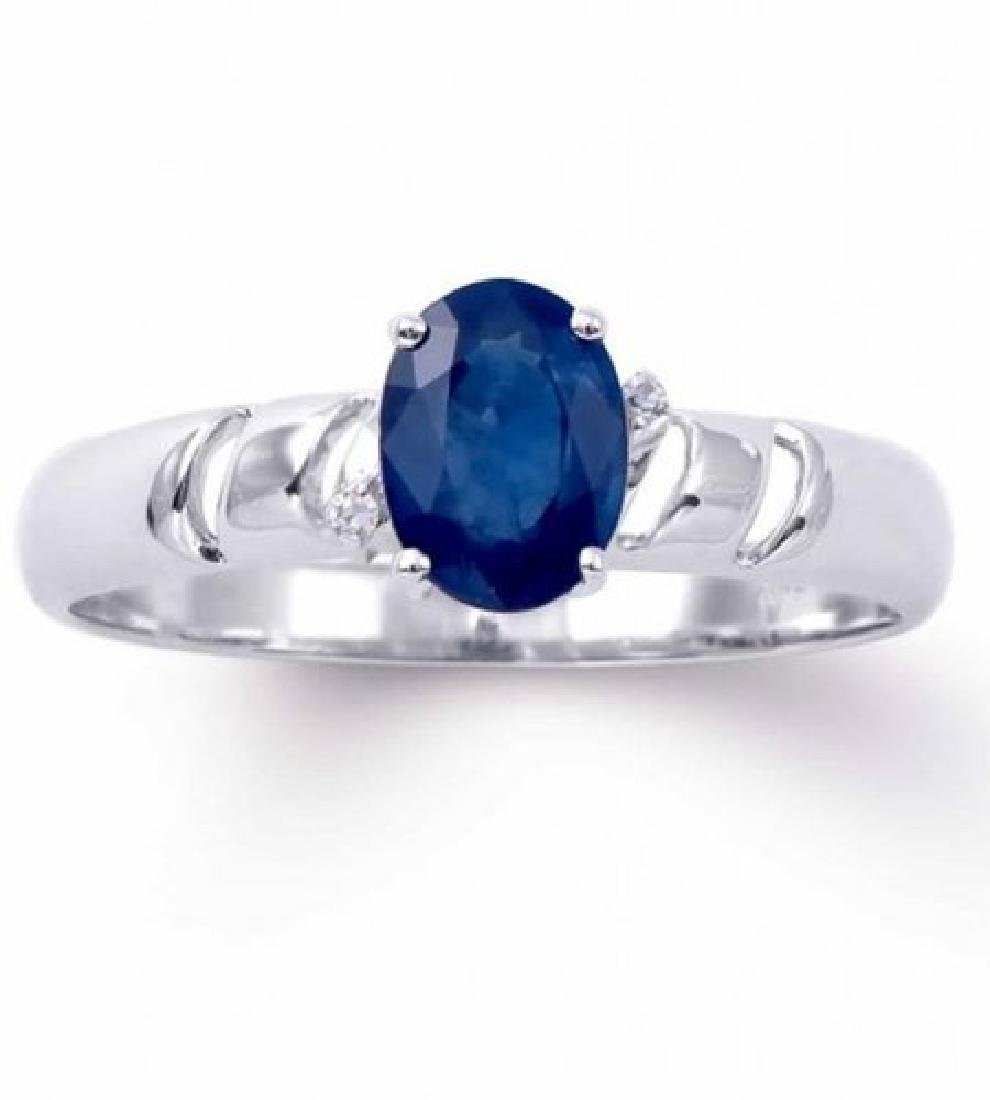 1.20 Cts Certified Blue Sapphire & Diamond Gold $4,421