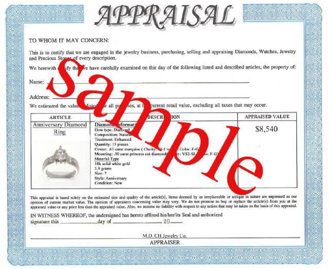1.65 CT Emerald Diamond Ring Appraised $9,450 - 3