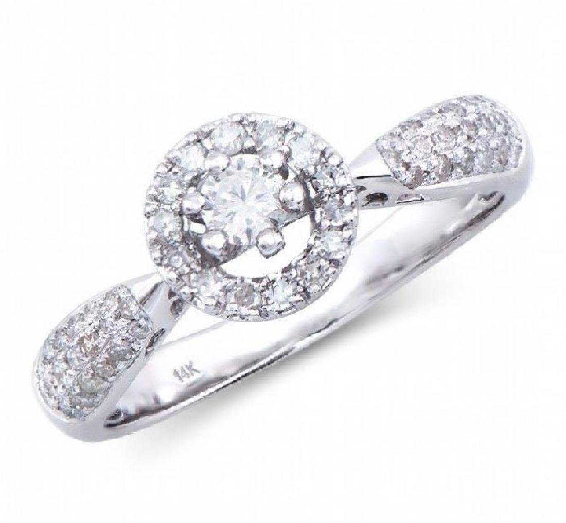 0.57 Cts Certified Diamond 14K Designer Gold Engagement