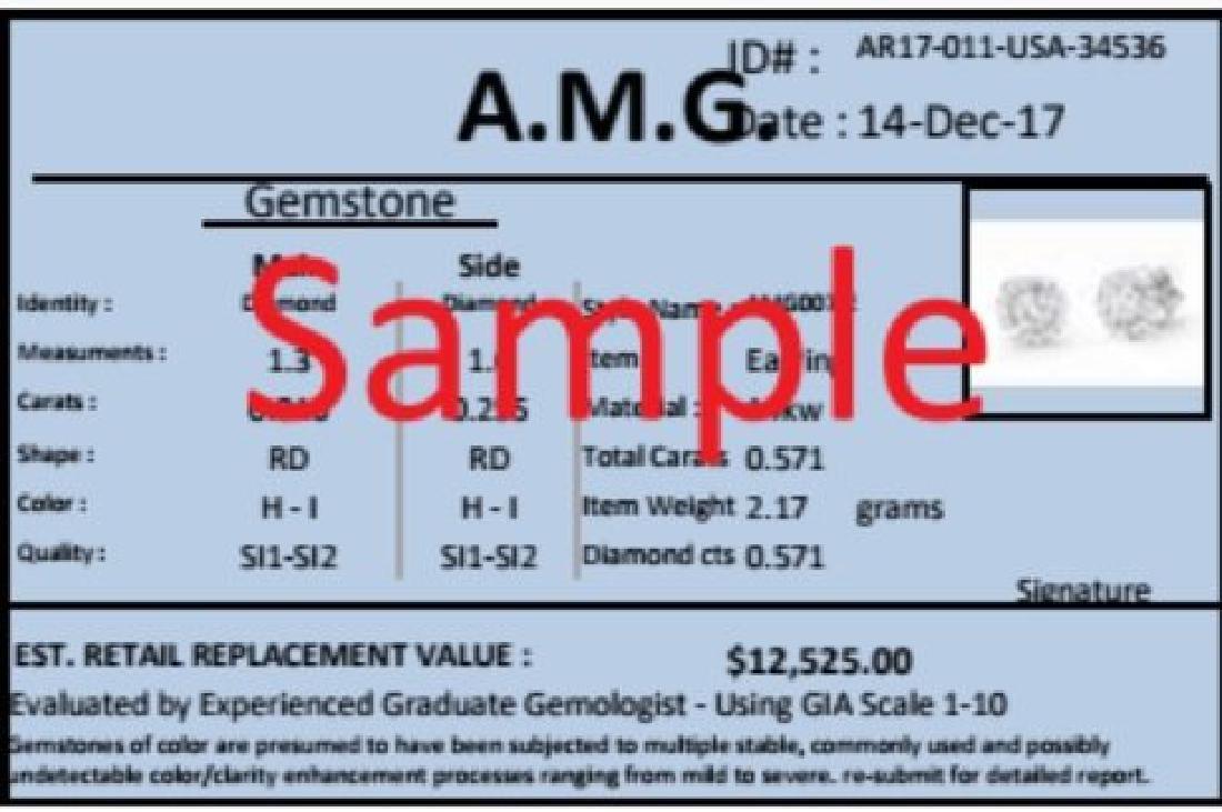 0.57 Cts Certified Diamond 14K Designer Gold Engagement - 2