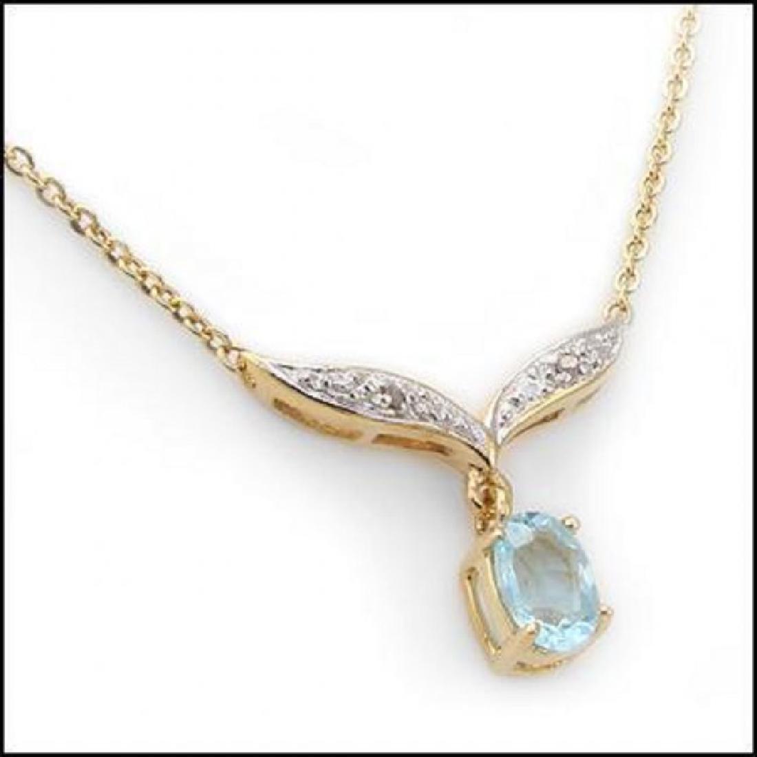 2.91 CT Blue Topaz & Diamond Fine Necklace $820