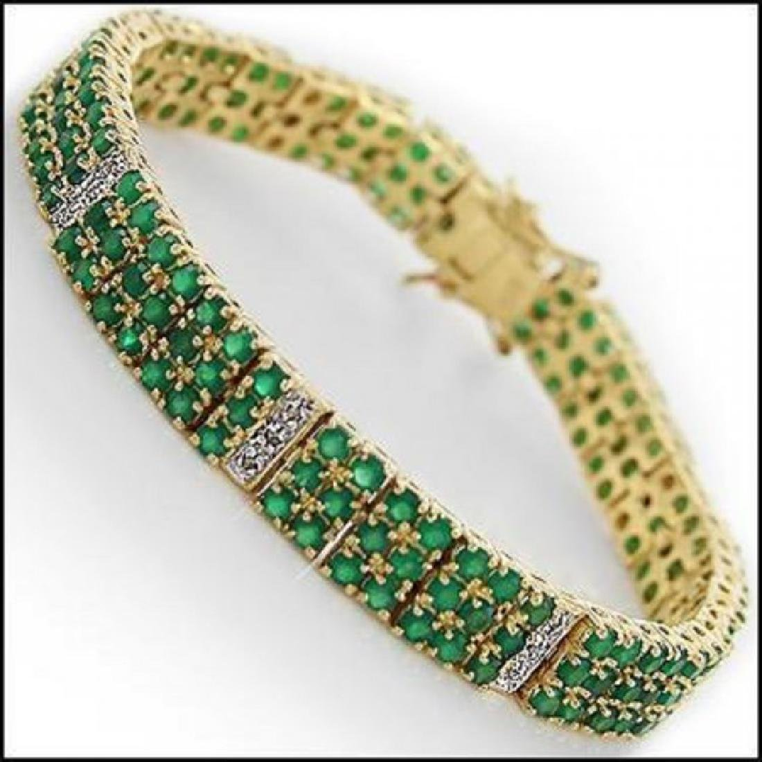 22.19 CT Green Agate & Diamond Designer Bracelet