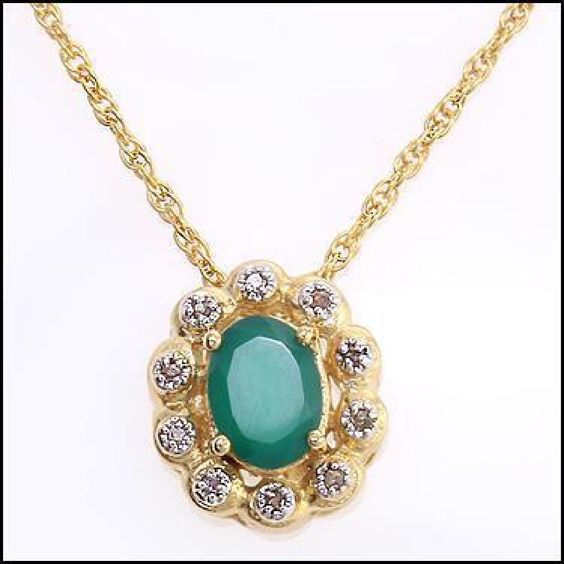 2 CT Green Agate Diamond Pendant Necklace - 2